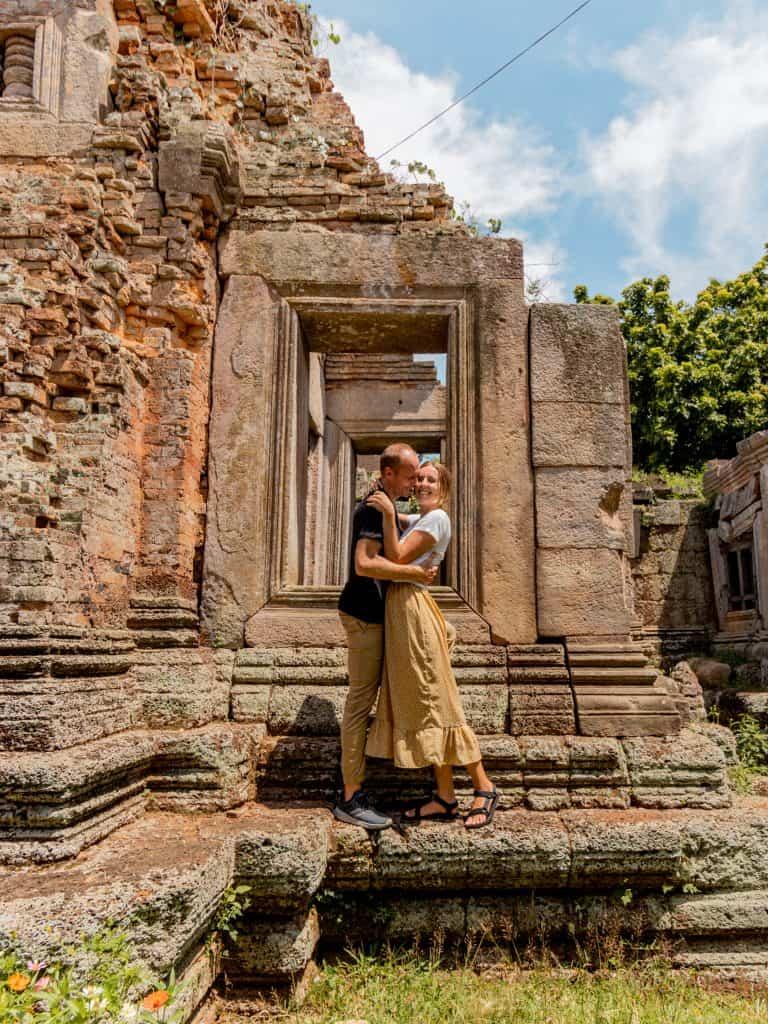 Alicia & Nate at temple, Cambodia
