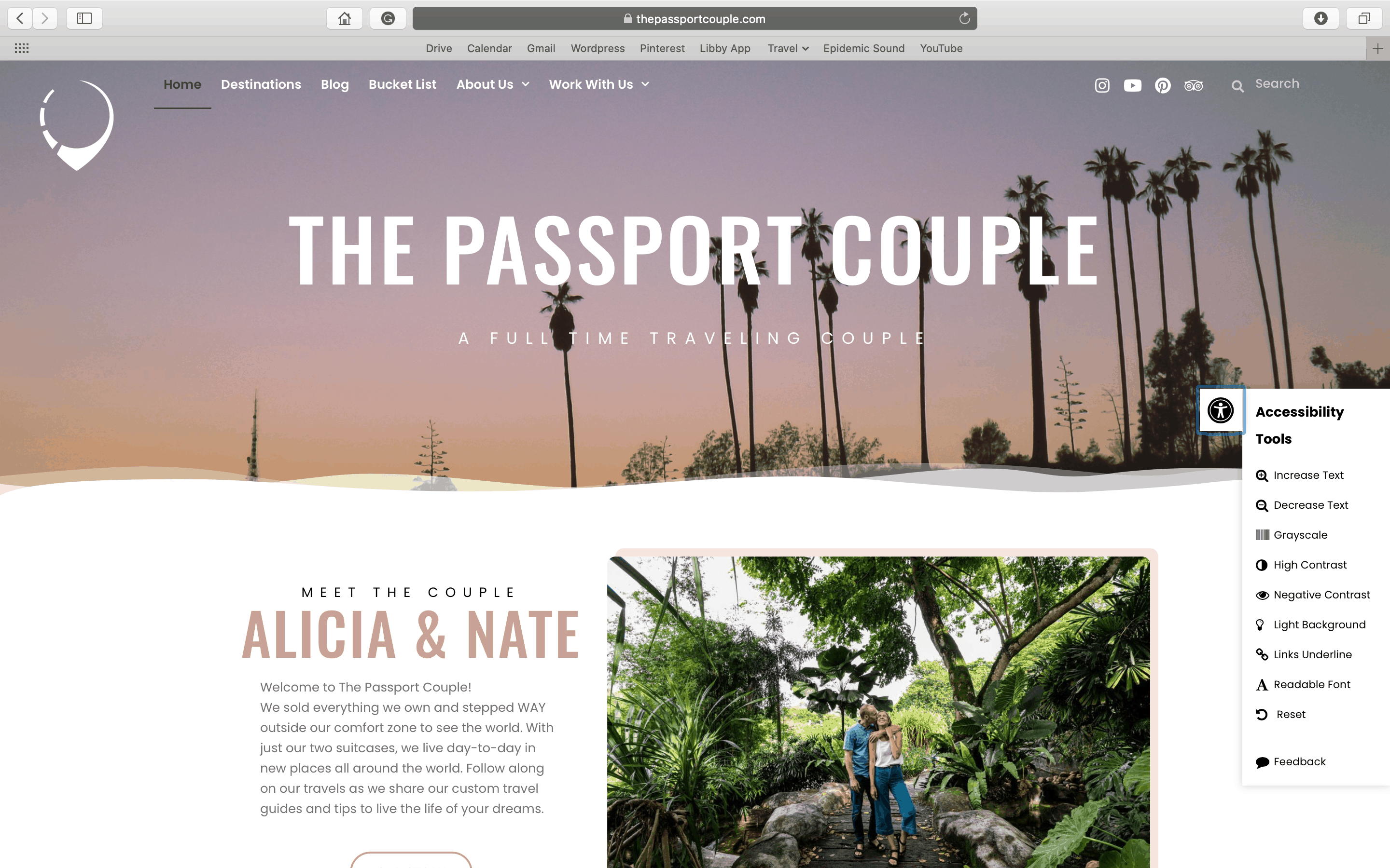 Accessibility Toolbar on The Passport Couple Homepage