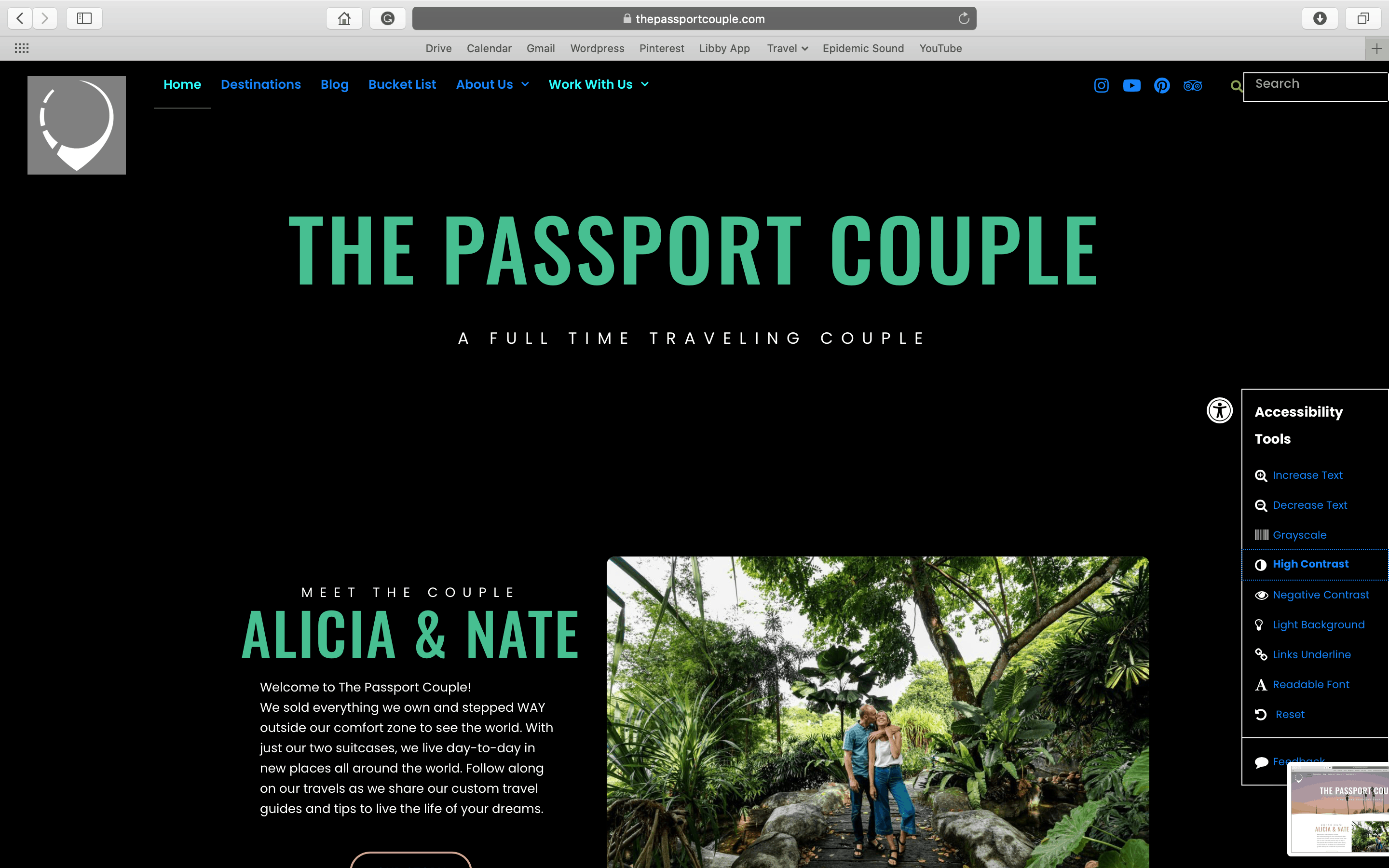 Accessibility Toolbar on The Passport Couple Homepage with High Contrast