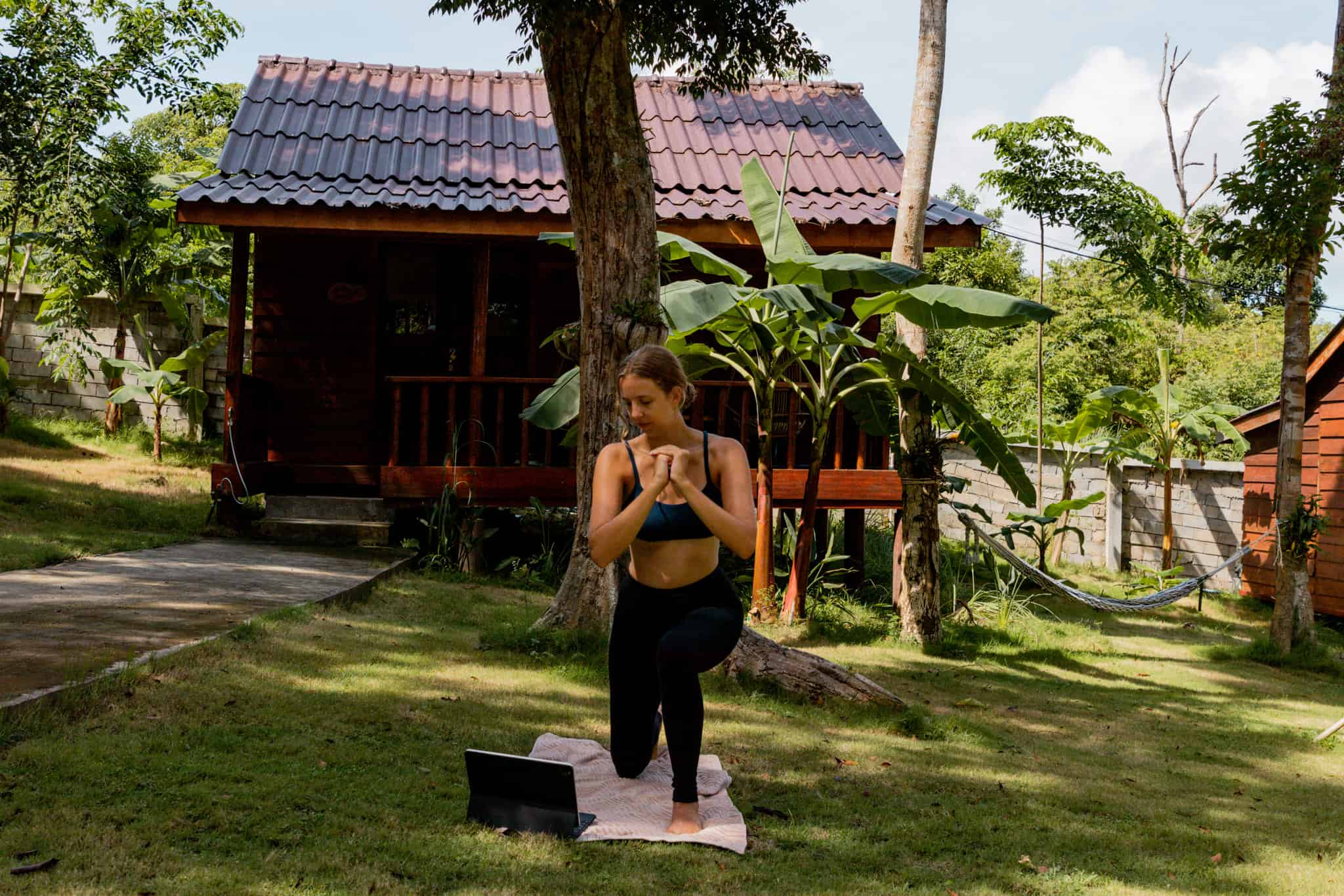 Alicia staying in shape while traveling on iPad in Koh Rong, Cambodia