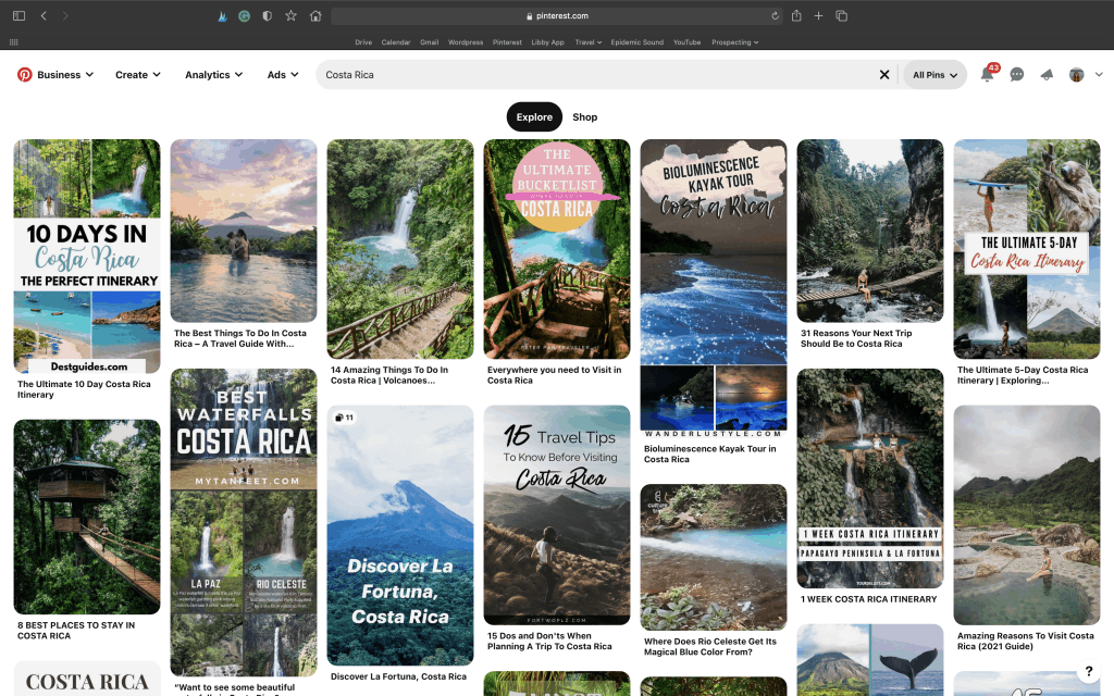 "Screenshot of Pinterest Search for ""Costa Rica"""