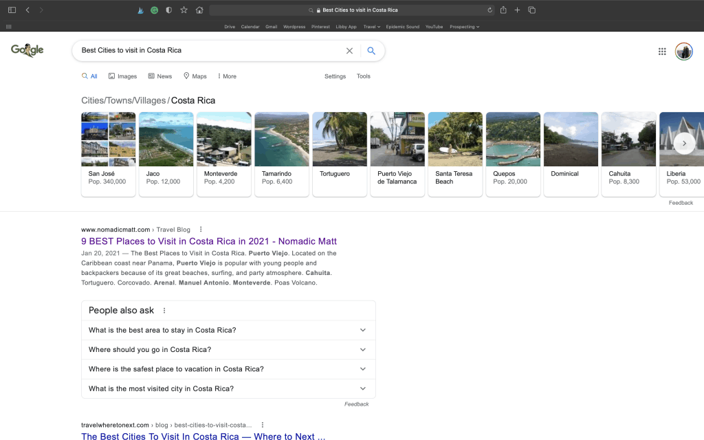"Screenshot of Google Search for ""Best Cities to visit in Costa Rica"""