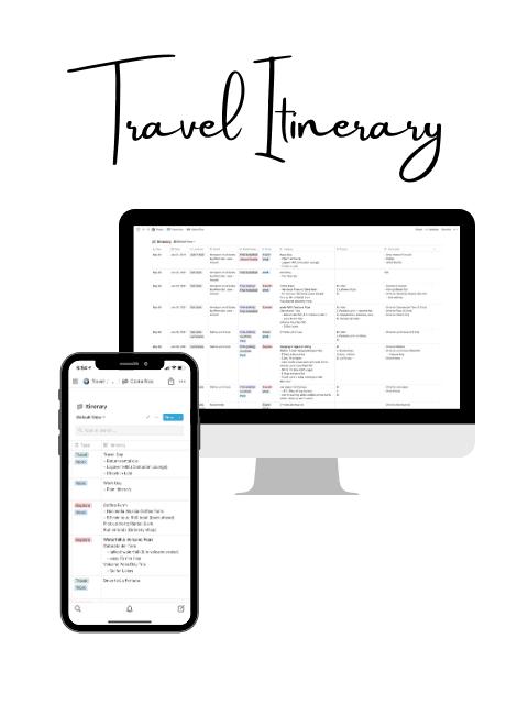 Free Notion Travel Itinerary
