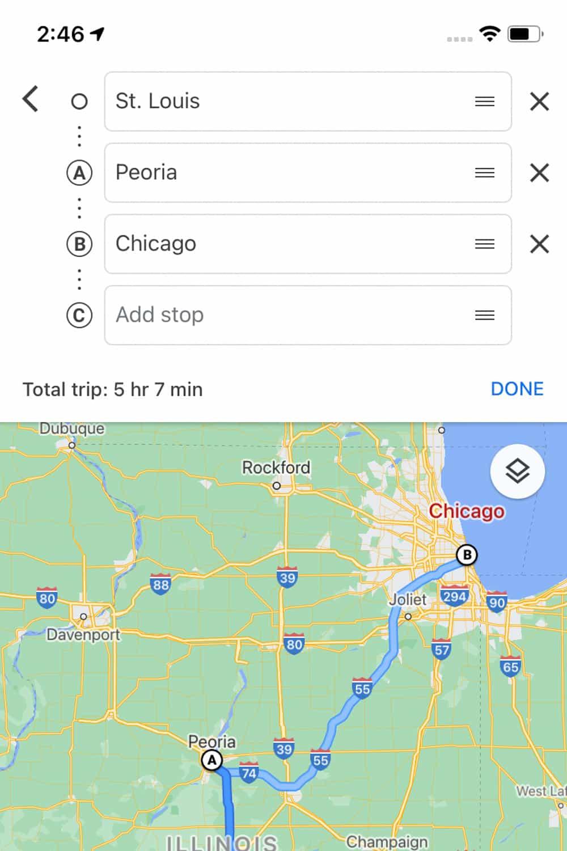 create itinerary google maps