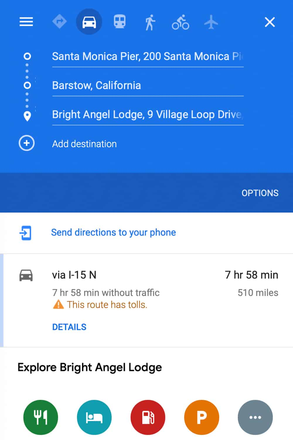 how to plan a trip on google maps